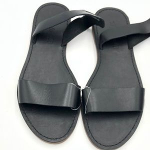 Madewell boardwalk black leather sandals size 6